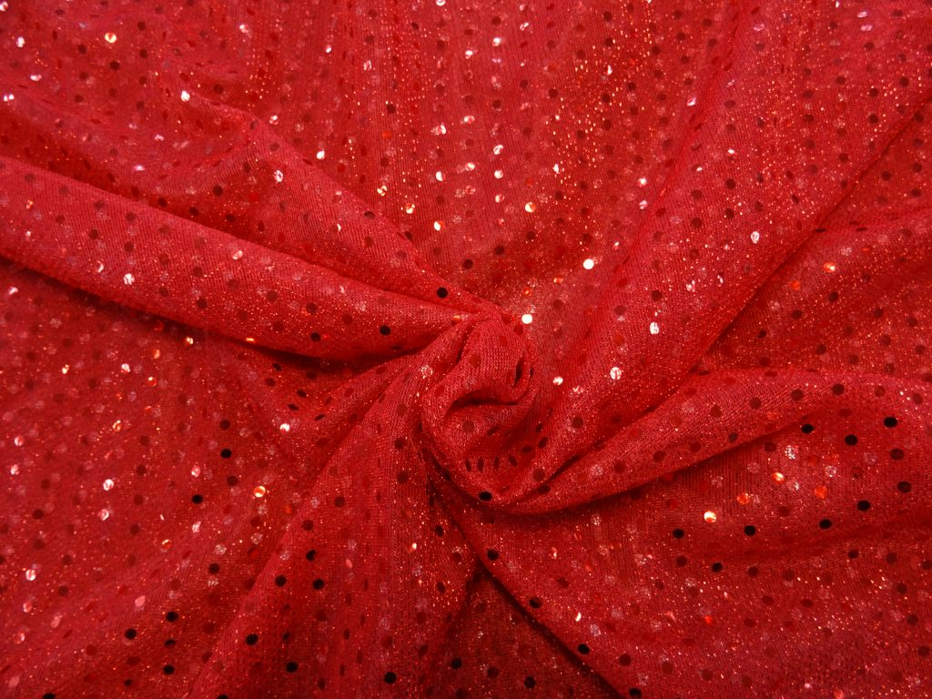 Sequin Fabric Knit Red (7) 100% Polyester $7.99 Per mt 110cm Wide